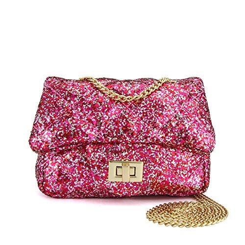 CMK Trendy Kids Quilted Shinning Glitter Kids Crossbody Handbags for Girls with Metal Chain (15cm(L) x 7.5cm(W) x 9cm(H), (80001_Glitter Hotpink)
