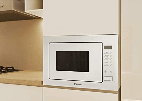 CANDY MICG25GDFW - Microondas integrable con grill sin marco, Capacidad 25L, 900 W - 1000 W, 8 niveles de potencia, Plato giratorio 31,5cm, Mandos electrónicos, Display Digital, Color blanco: Amazon.es: Hogar
