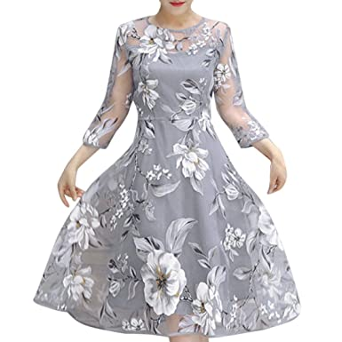Anglewolf Womens Spring Summer Organza Floral Printing Wedding Party Ball Prom Gown Cocktail Dress Ladies Casual