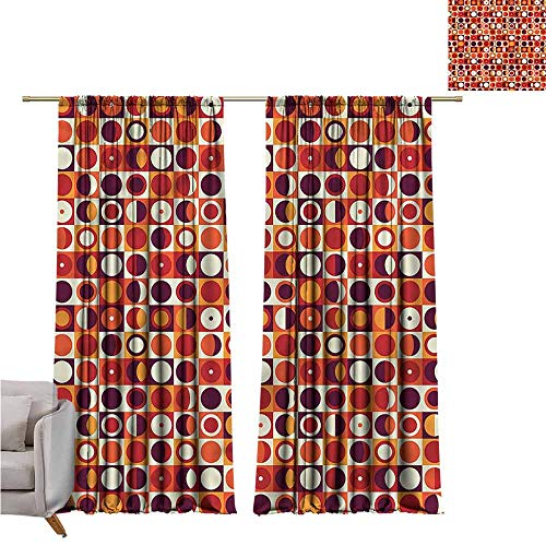 zojihouse GeometricBedroom and Living Room Curtains Sixties Style Ovals W107xL82