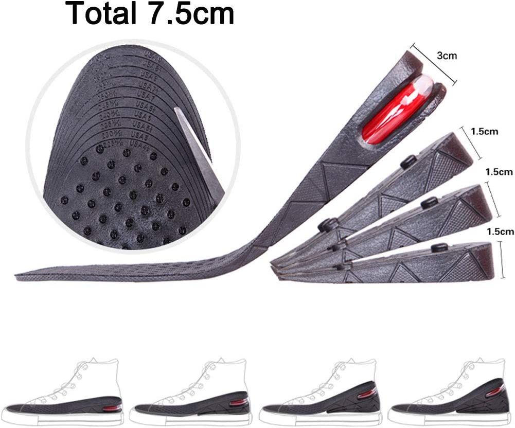 SINY Full Length 2 inches 2-Layer Shoe Insoles Air Cushion for Men Height Increase Taller Heel Lift Kit Foot Care 5cm