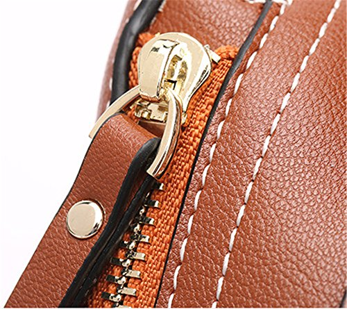 XinMaoYuan bolsos de cuero Bolsos de cuero Moto portátil hombro bolsa bandolera Color sólido dama bolsa Zipper de Ocio Vino rojo