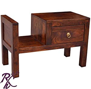 RAJ HANDICRAFT Solid Traditional Bed Side Table