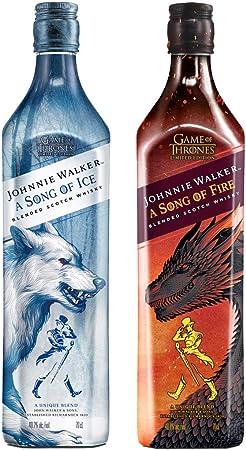 Johnnie Walker Song of Fire + Johnnie Walker Song of Ice Whisky Escocés de mezcla, Edición limitada Juego de Tronos: Casa Stark y Casa Targaryen - 2 x 700 ml
