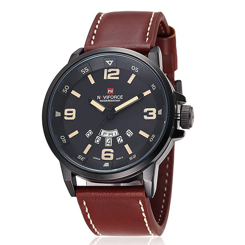 smalodyファッションレザー防水時計日付日時間クォーツ時計Armyミリタリーメンズスポーツ腕時計 ブラウン B075T93ZZXブラウン