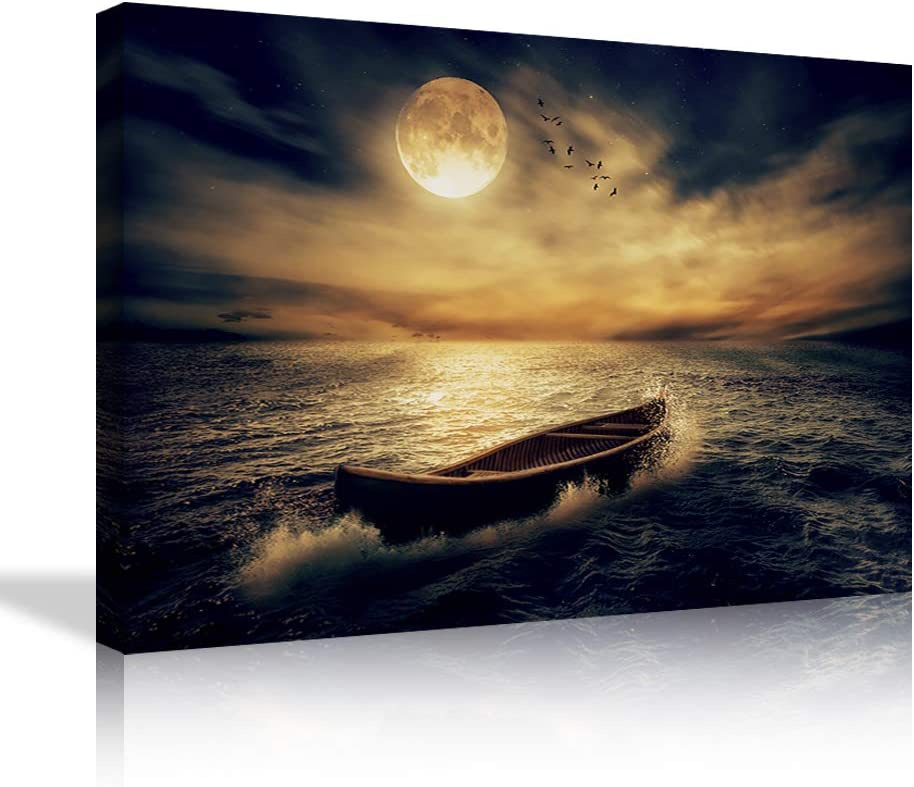 Moon Wall Art Full Moon and Boat Wall Decor Golden Moonlight Clouds Canves Painting Sea Moon Picture Print Artwork Home Decor for Living Room Bedroom Framed Ready to Hang