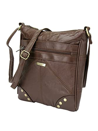 57a882d383 Lorenz Accessories Lorenz Soft Leather Zipped Across the Body Slim Hand Bag.  (BROWN)  Amazon.co.uk  Clothing