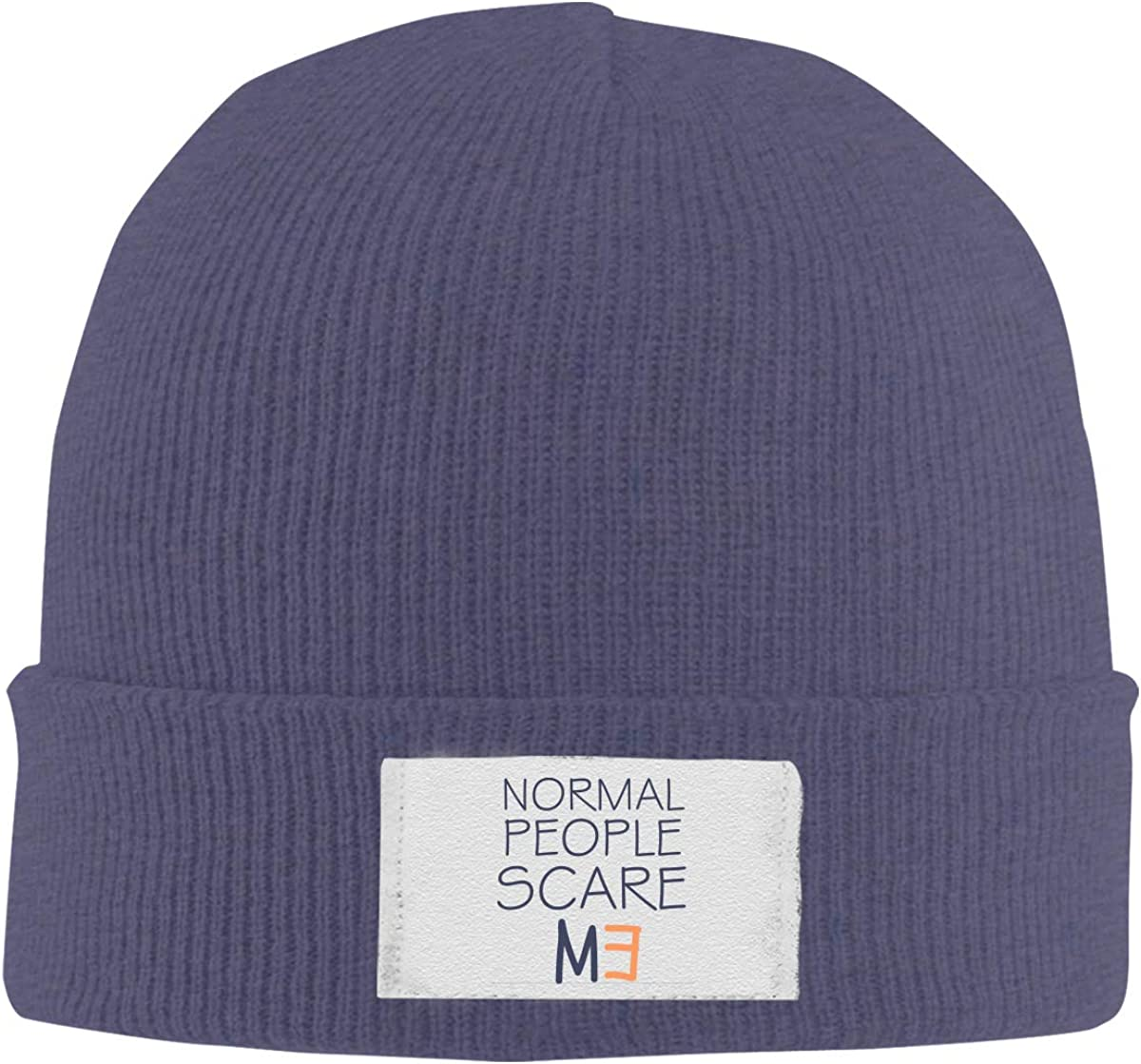 Stretchy Cuff Beanie Hat Black Dunpaiaa Skull Caps Normal People Scare Me Winter Warm Knit Hats