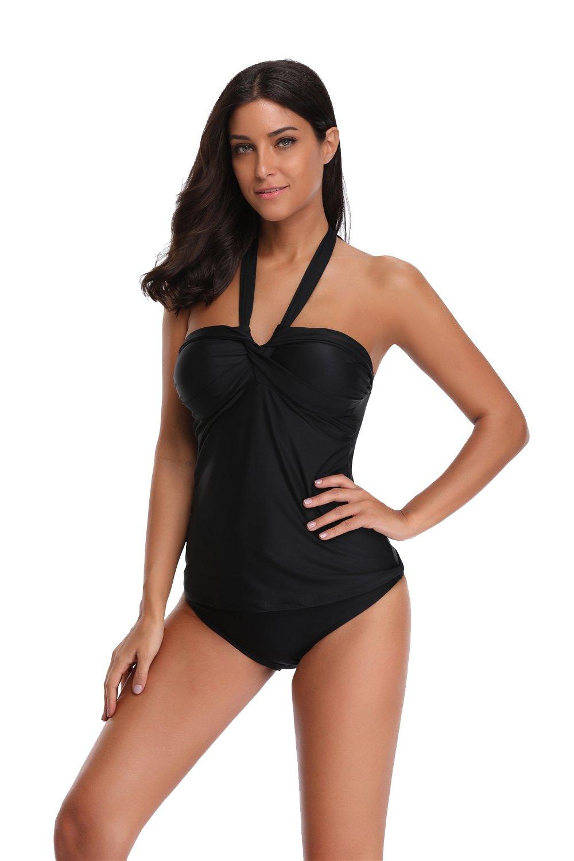 SherryDC Women's Twist Bandeau Halter Padded Tankini Top Swimwear Swimsuit,(US 6-8)M,Black by SherryDC (Image #2)