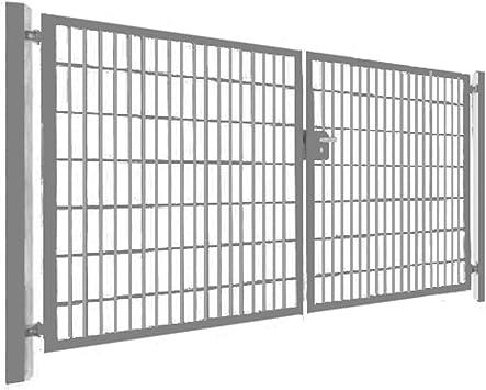 Puerta de entrada de 200 cm, puerta de jardín de doble hoja con cerradura, Gris: Amazon.es: Bricolaje y herramientas