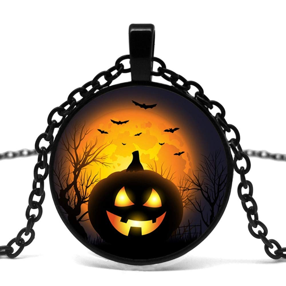 Holiday Gift Stylish Halloween Glass Pendant Necklace Mens necklace Hot Sale Send Friends.