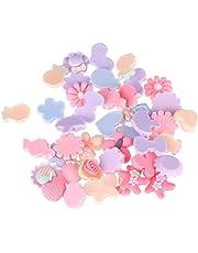 SUPVOX 40pcs Flatback Resin Flowers Cabochon Embellishments for Craft Jewelry Making DIY Headband