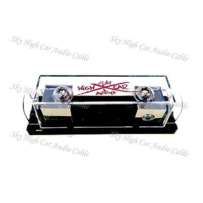 Sky High Car Audio 1/0 Gauge ANL Fuse Holder (Set Screw) (White): Car Electronics