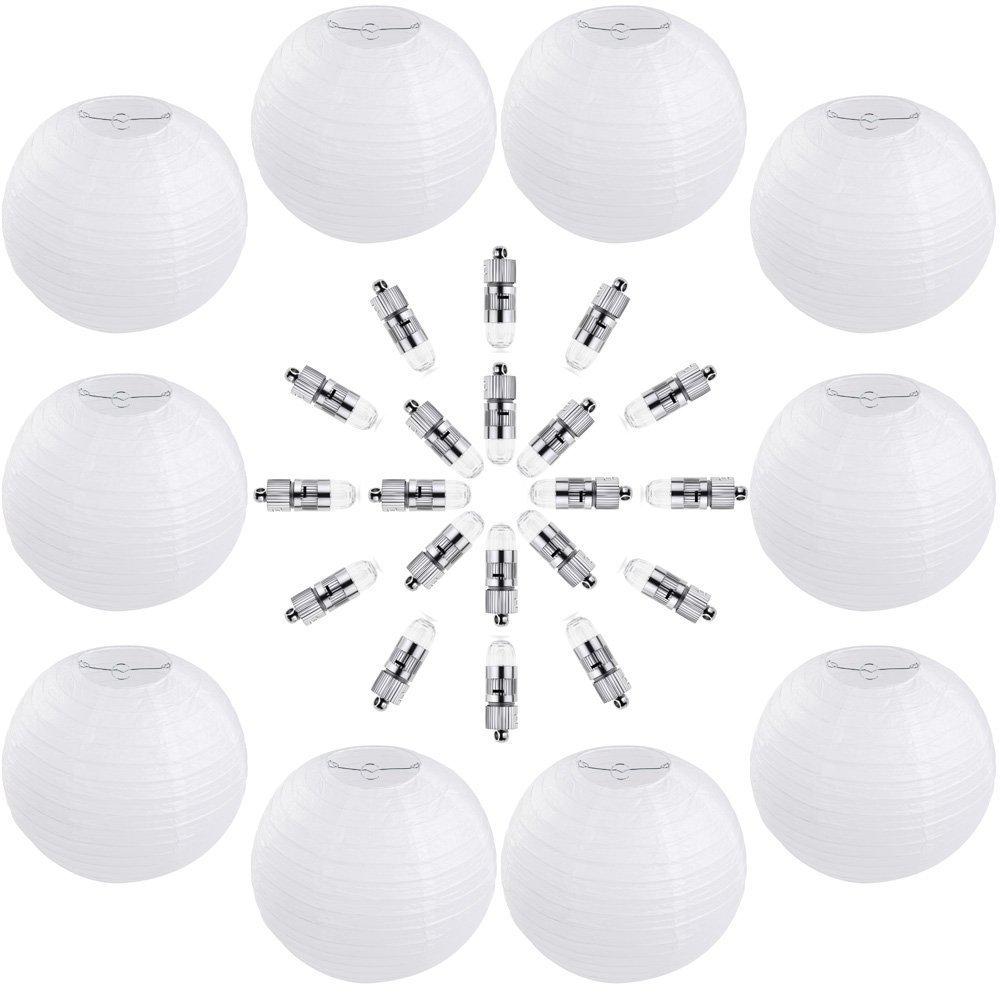 Zacro 10pcs Lanternes en Blanc Papier de 12 Pouces (30cm) avec 20psc LED Lumière et 60 Batteries à LED pour Décorations de Mariage, fête, Maison, Parloir, Plafond