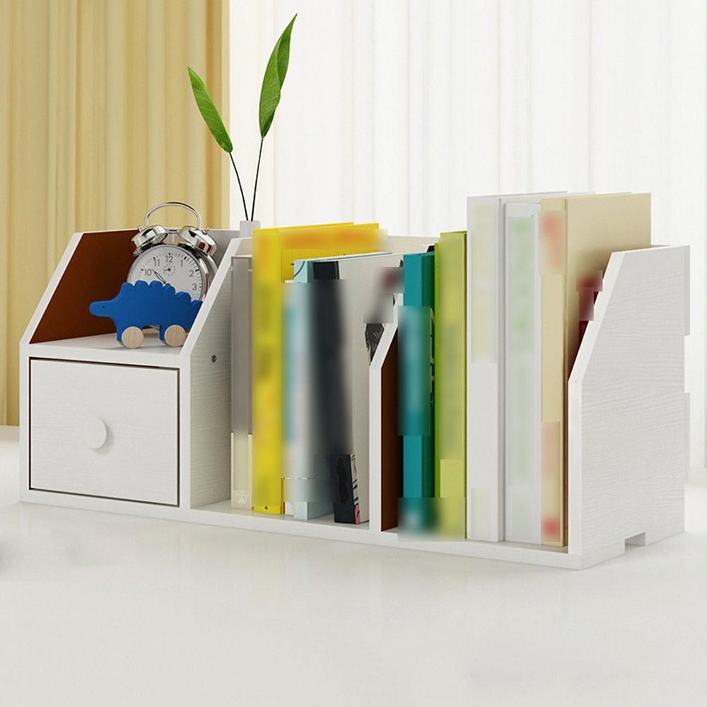 HPLL Storage Racks Computer Desk Bookshelf Bucket Desktop Bookcase Small Office Storage Rack (Color : White willow wood)