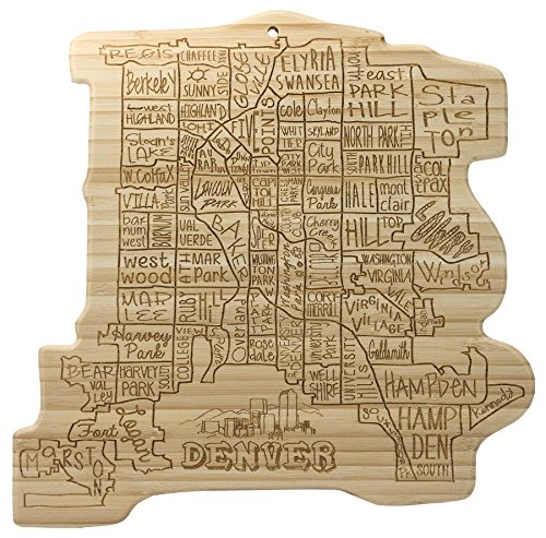 Totally Bamboo City Life Serving Board, Denver, 100% Bamboo Board for Serving and Entertaining