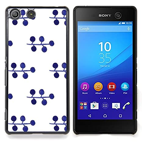 Pattern Blueberry White Minimalist/ Fest Snap On Handy Tasche   Cao   For  Sony