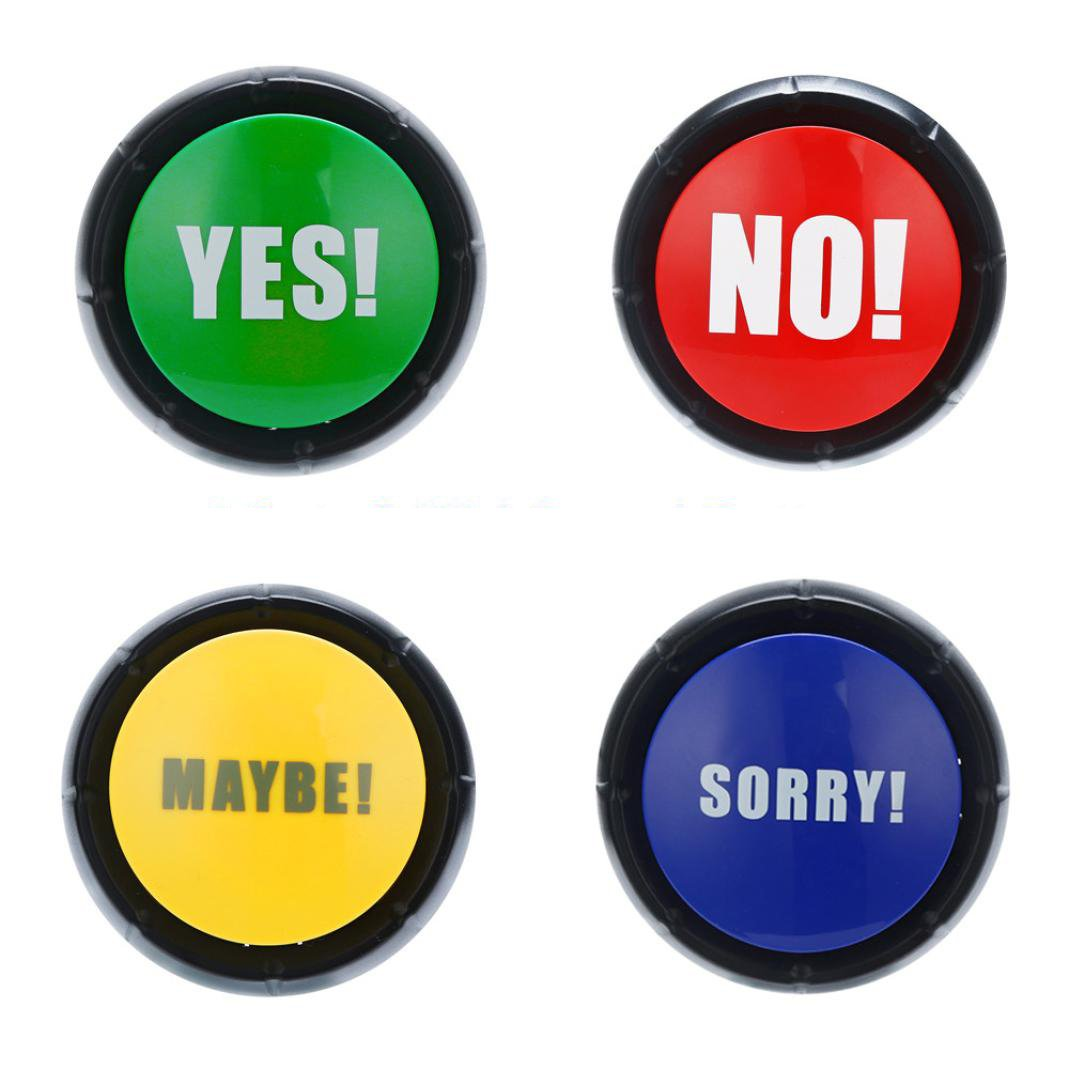 Sacow Set of 4 Talking Sound Buttons, No, Yes, Sorry & Maybe by