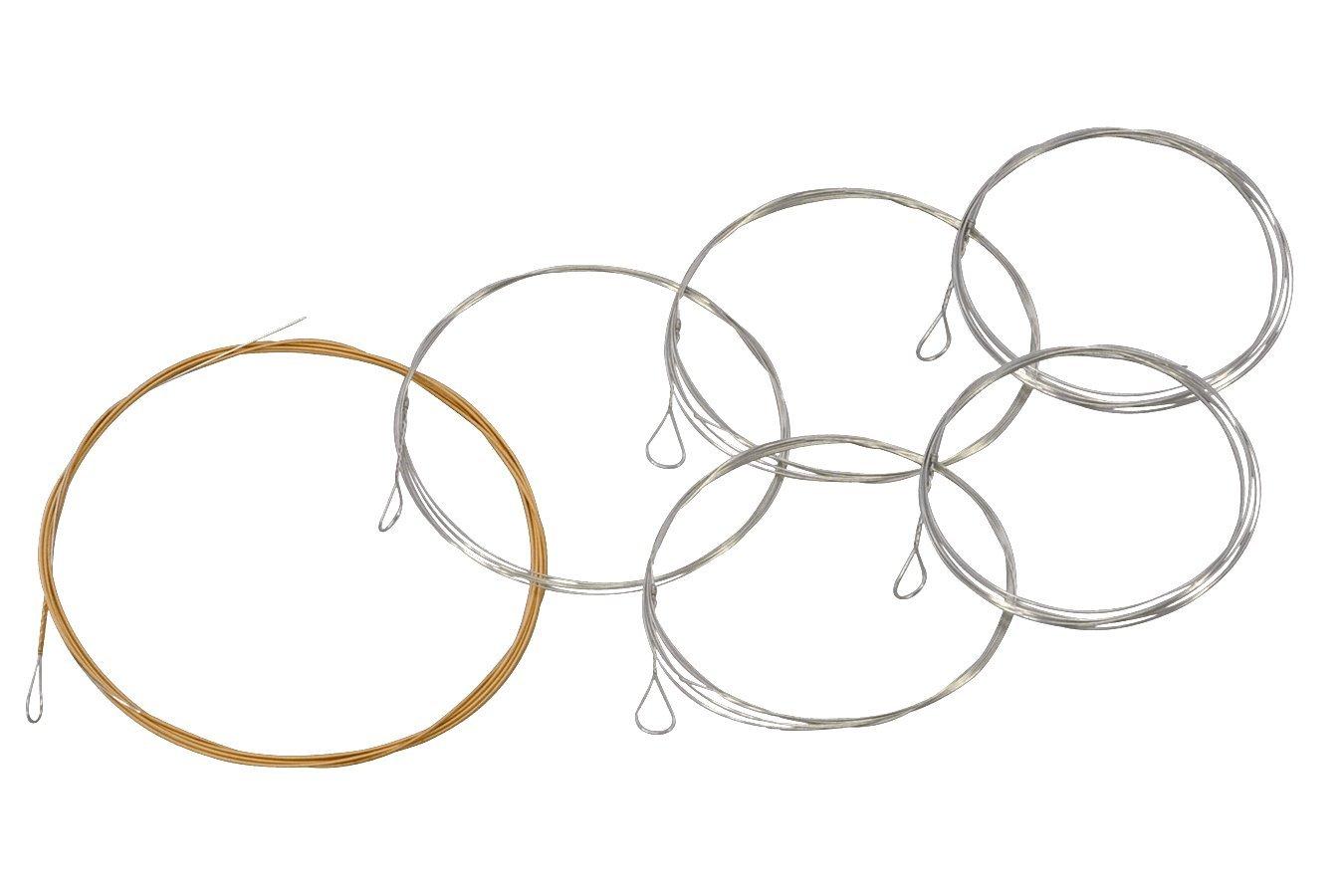 Folkcraft Brand Mountain Dulcimer String Set, Six String, Loop Ends (.011.011.013.013.024BW.011)