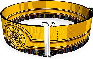 Buckle-Down Belt Seatbelt Buckle Star Wars C3PO Wires Bounding Yellows Black Multi Color Mens Womens Kids Adjustable