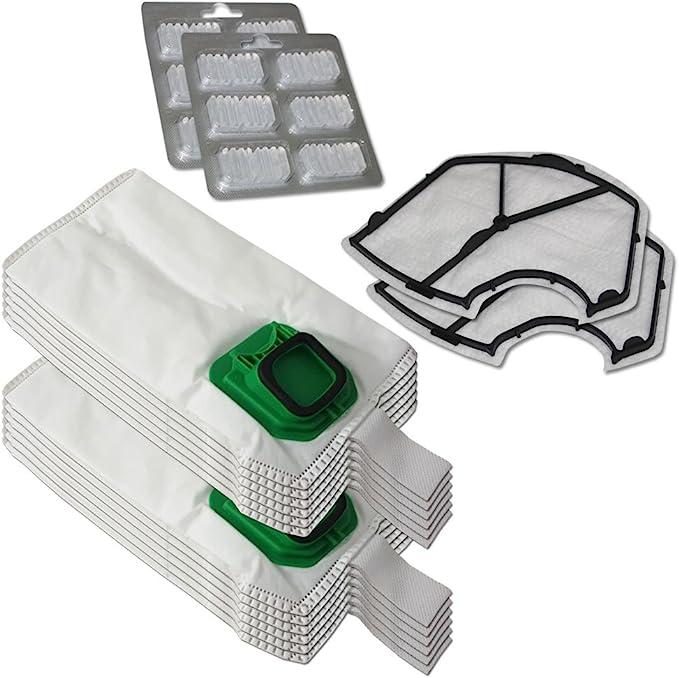 Filterprofi - Kit de 12 bolsas (microfibra) + 12 ambientadores + 2 filtros de motor para aspiradora Vorwerk Folletto Kobold VK 140, 150, VK140, VK150: Amazon.es: Hogar