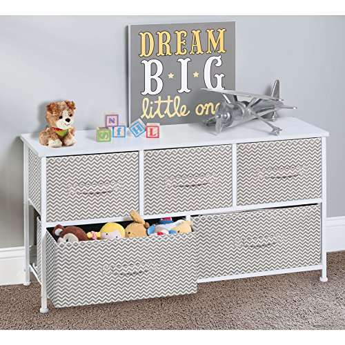 mDesign Fabric 5-Drawer Dresser and Storage Organizer Unit for Bedroom, Dorm Room, Apartment, Small Living Spaces - Taupe/Natural