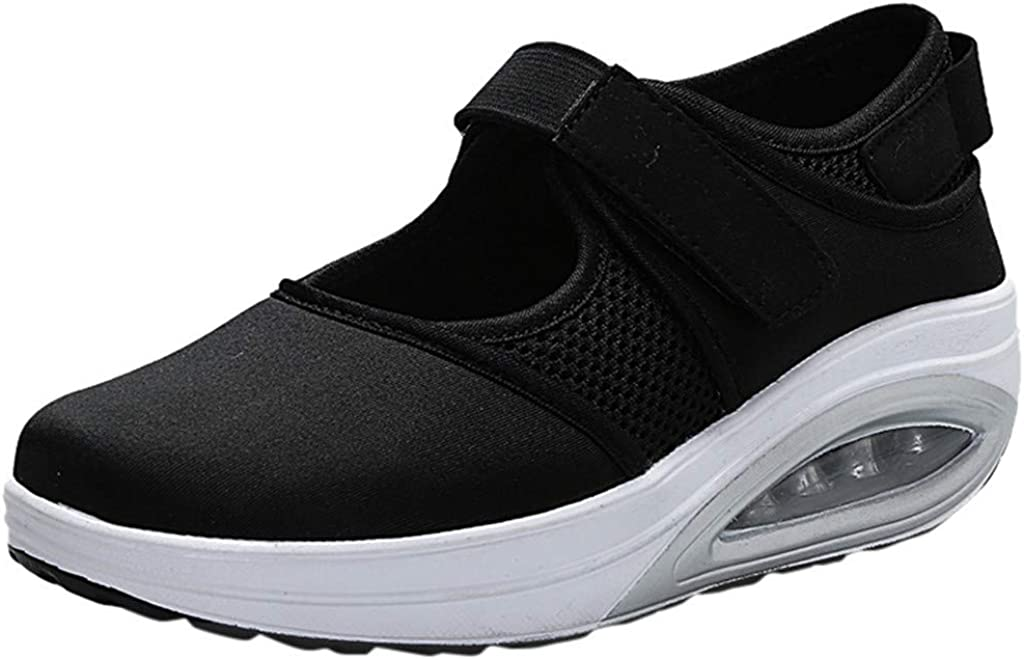 Walking Shoes for Women Hemissy Womens Air Cushion Slip On Platform Rocking Walking Jogging Fitness Work Out Sneakers