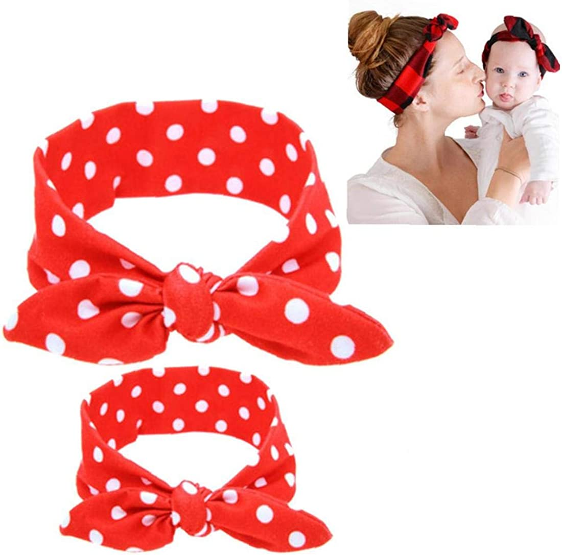 2pcs//set Mother Infant Turban Mom and Me Matching Headband Mom Daughter Ears Headbands Floral Print Hair Accessories