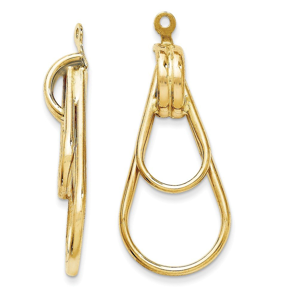 14k Polished Double Teardrop Earring Jackets by GLDQ001