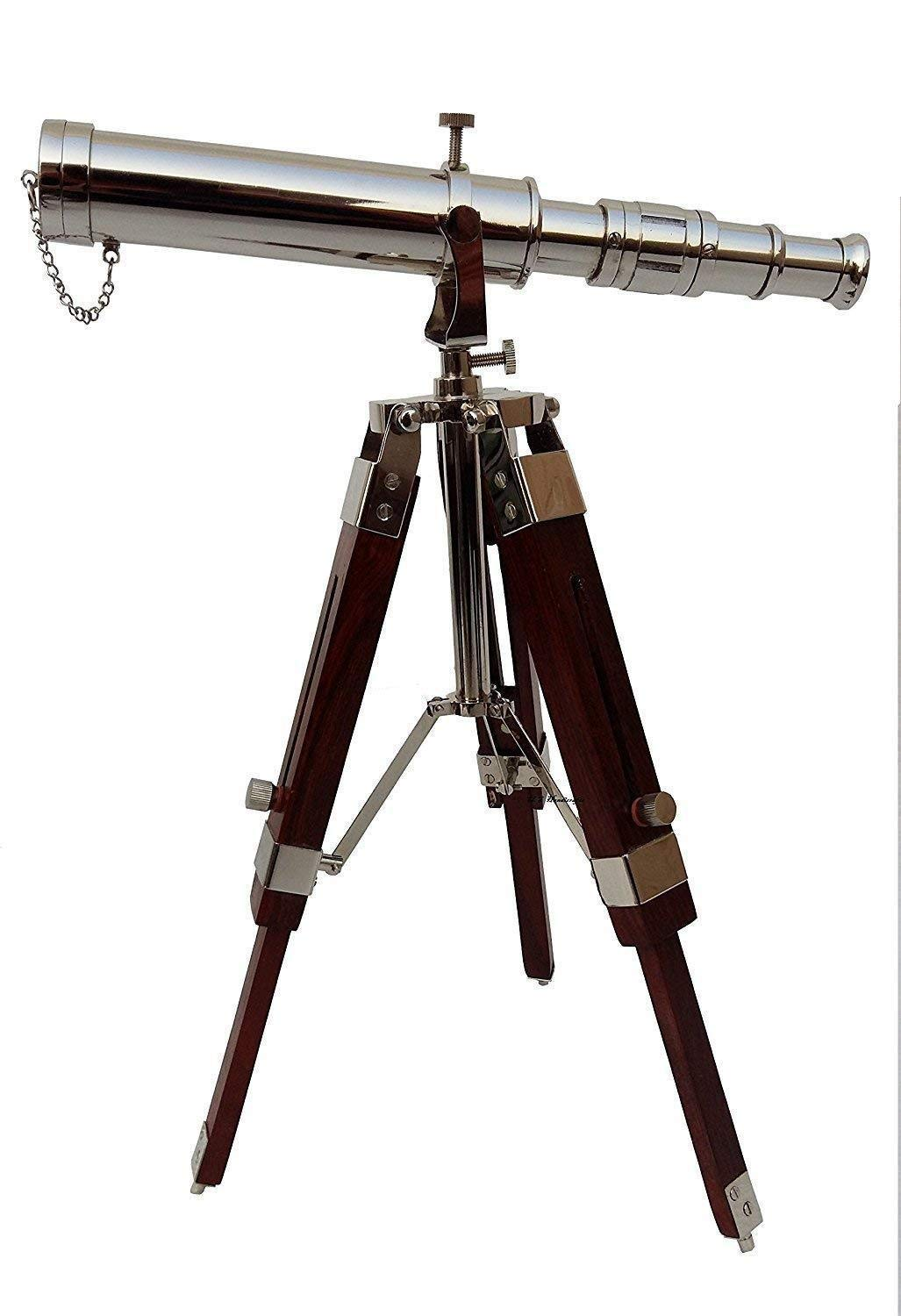 Arsh Nautical Collectible Handmade Brass Marine Telescope with Wooden Tripod Stand