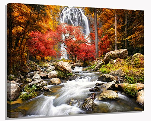 YYL ART-(Multiple Type Falls Intermountain Waterfall Wall Art Decor Autumn Tree Modern Wall Decorations Art With Red Leaves Beautiful Picture Of Natural Landscape Print On Canvas Framed Artwork