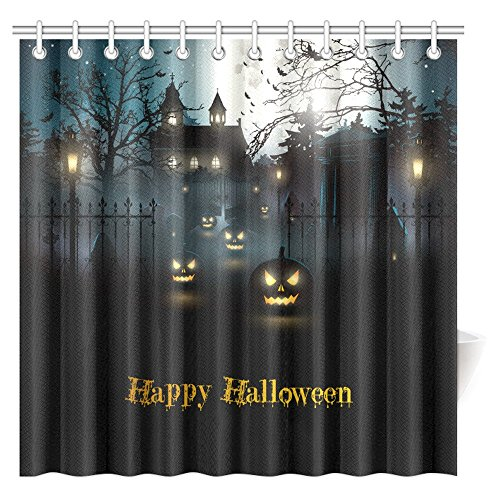 Halloween Haunted House Scene - InterestPrint Halloween Decor Collection, Gothic Scene With Halloween Haunted House Party Theme Decor Trick Or Treat For Kids Fabric Bathroom Shower Curtain Set, 72 X 72 Inches Extra Long