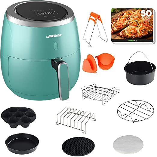 GoWISE USA GWAC983 XL 5.3-Quart Air Fryer with Accessories, 10 Piece, 8 Cooking Presets + 50 Recipes (Mint)