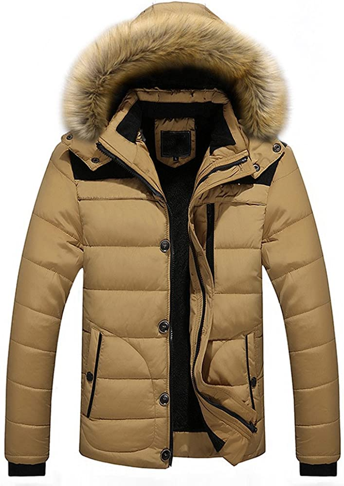 Balakie Mens Camouflage Down Coat Thicken Cotton-Padded Faux Fur Hood Jacket Parka