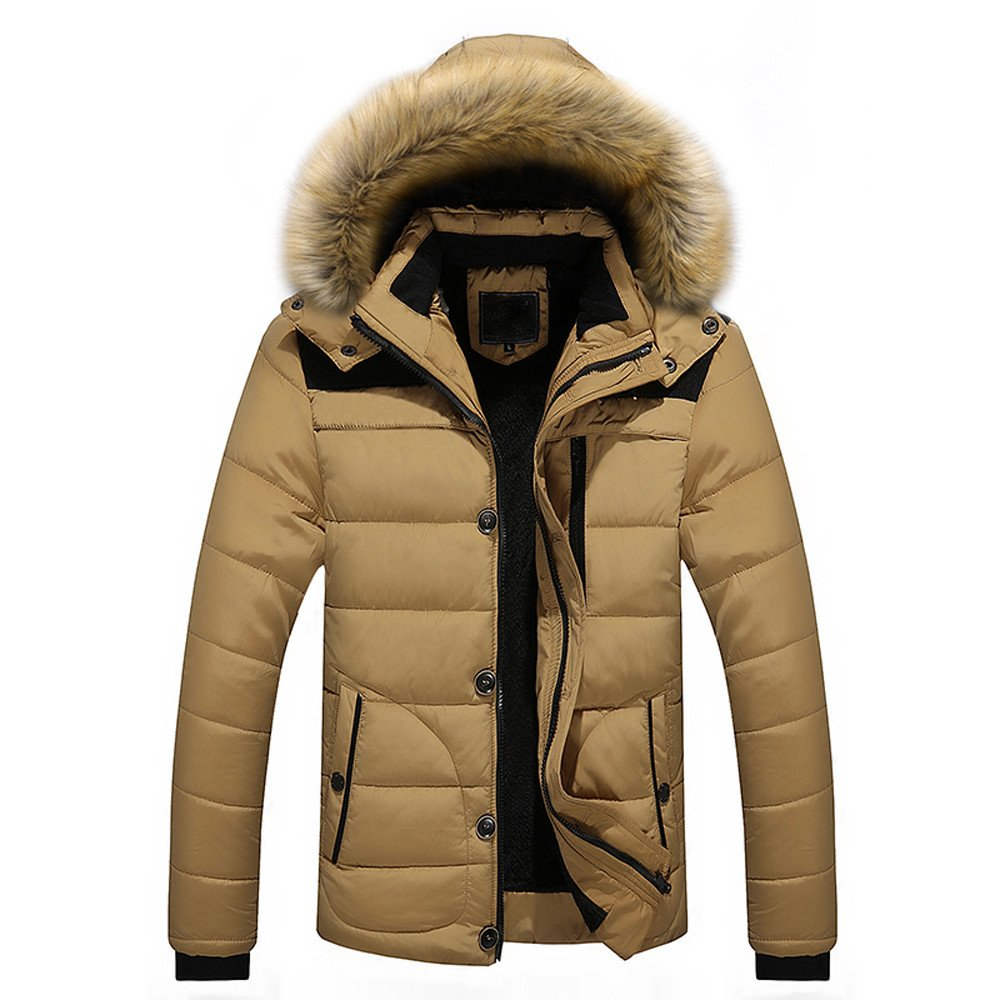 HARRYSTORE Men's Parka Winter Thicken Coat Cotton Padded Jacket with Faux Fur Hood Casual Warm Hooded Coat Parka Trench Puffer Jacket Outwear Plus Size