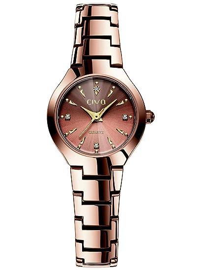 Relojes para Mujer Reloj Damas de Malla Impermeable Relojes de Pulsera de Cuarzo Analógico para Mujer Oro Rosa Diseño Unico Banda de Acero Inoxidable ...