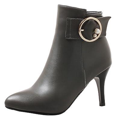 YE Damen High Heels Ankle Boots Stiletto Spitze Stiefeletten