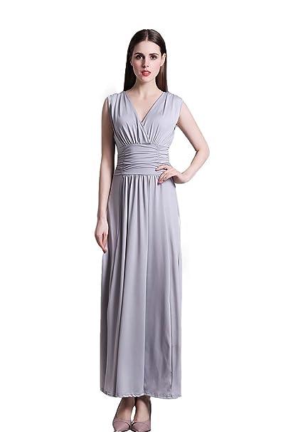 Amazon.com: Wicky LS cuello en V de la mujer Maxi vestido ...
