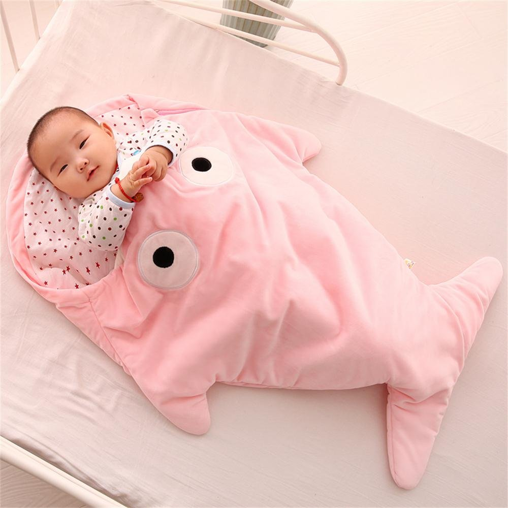 Infant Shark Sleeping Bag,Kosbon Baby Cute Blanket Used in Outdoor Stroller or Air-conditioned Room Summer/Winter Dual Use (Pink)