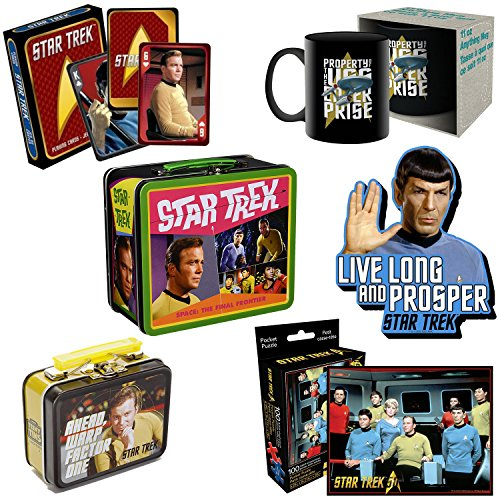 PopShoppes Star Trek PopBox - Deluxe Gift Bundle Set includes Large Tin Fun Box, Boxed Mug, Playing Cards, Pocket Puzzle, Mega Thick Magnet (Style Varies) ()