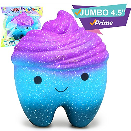 Price comparison product image Scented Galaxy Jumbo Tooth Squishy Prime| Large Squishies Slow Rising Kids Gift |Huge Kawaii Cute Animal Stress Relief Toys | Squeeze Ball Squishes Squishys Large Random Alpaca Koala Panda Elephant