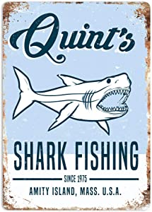 Quint's Shark Fishing Metal Wall Sign Plaque Art Jaws 80s Movie Poster Summer Decor Novelty Art Sign Funny Aluminum Metal Tin Signs