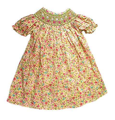 Smocked Floral Yellow Print Bishop Dress (9 months)