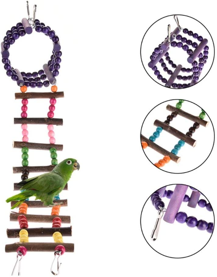 Ladder October Elf Pet Bird Parrot Toy Wood Climbing Ladder Swing Hanging Toy Perch Chewing Toys Cage Playing Toy
