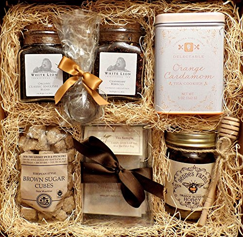 Gourmet Tea Box: White Lion English Tea, White Lion Cranberry Hibiscus Tea, Brown Sugar Cubes, Orange Cardamom Cookies, Orange Blossom Honey, Mint Tea, Rose White Tea, Chamomile, Earl Grey Gift Basket by Taylored Gourmet