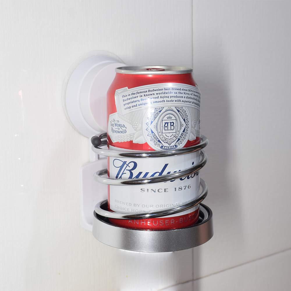 HistenOne Beer & Wine Shower Holder, Bath Suction Cup Beverage Bottle Drink Glass Holder Caddy, Stainless Steel Spring Design