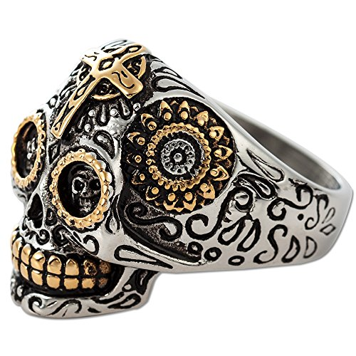 Jude Jewelers Vintage Gothic Stainless Steel Cross Skull Biker Ring (10) -