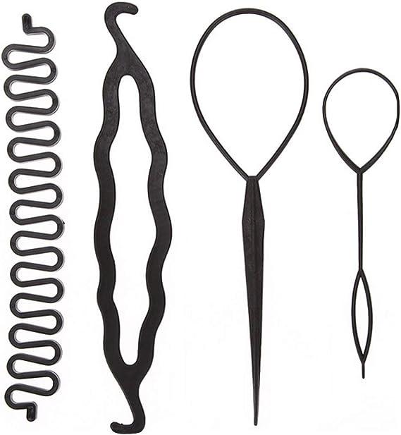 Image of4 unids/set Pelo Mágico Trenzado Giro Rizador Set de Peinado Horquilla Sosteniendo Cabello Braiders Tire Aguja Ponytail Herramienta de la Peluquería DIY