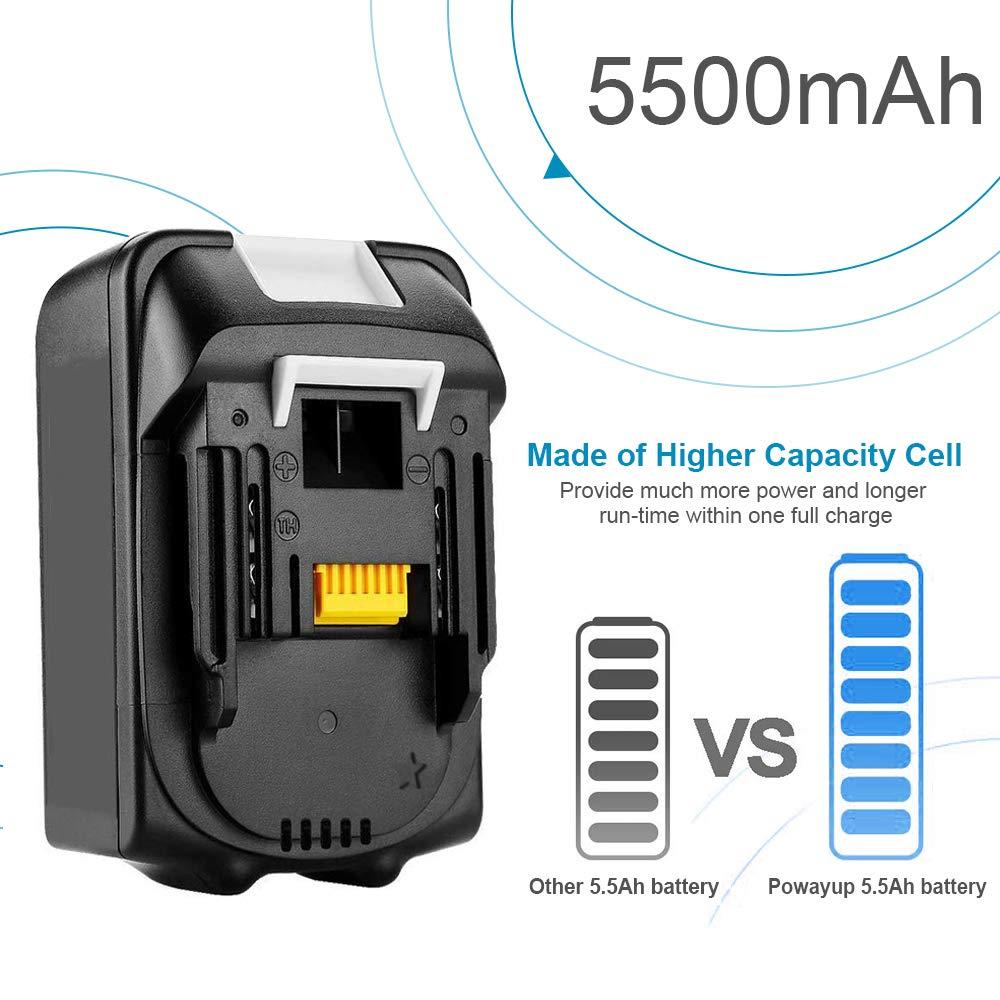 2X Powayup BL1860B 18V 5.5Ah batterie remplacement pour Makita BL1860B BL1860 BL1850B BL1850 BL1840B BL1840 BL1830B BL1830 LXT-400 avec Indicateur
