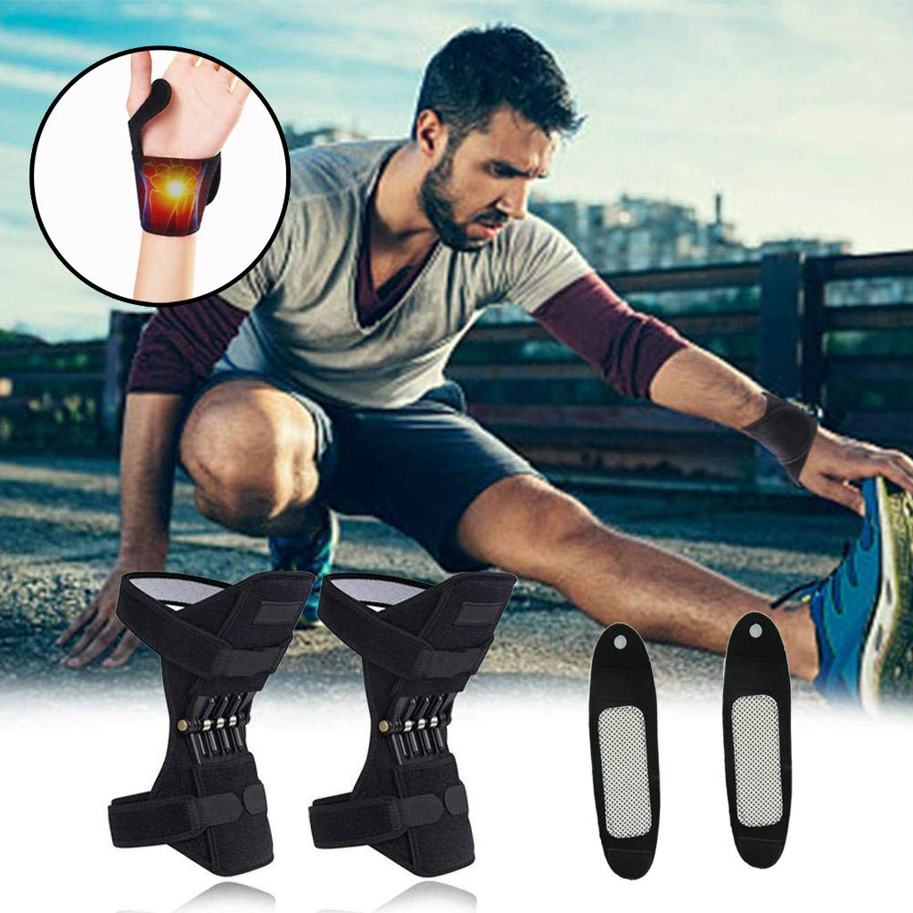 Knee Support + Self-Heating Wristband, Knee Pads Booster Power Lift Joint Support Pad Powerful Rebound Spring Force for Protection Knee Joint Old Cold Leg Band Mountaineering Deep Care byhuaquyuedu